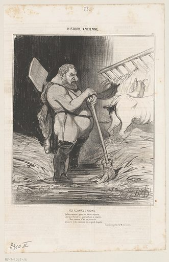 YR0102288 Caricature of Hercules in the stables of Augias
